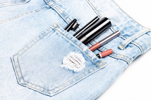 cosmetics in the jeans